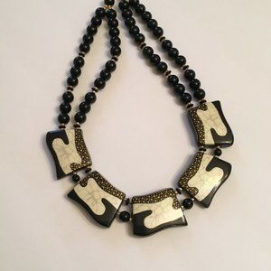 Black White Gold Colored Panel Beaded Necklace
